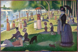 "Seurat's famous, pointillist ""Sunday Afternoon""."