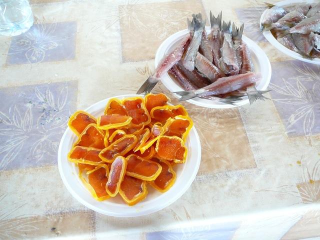 Part of our feast, lagoon sashimi and avgotaraho.