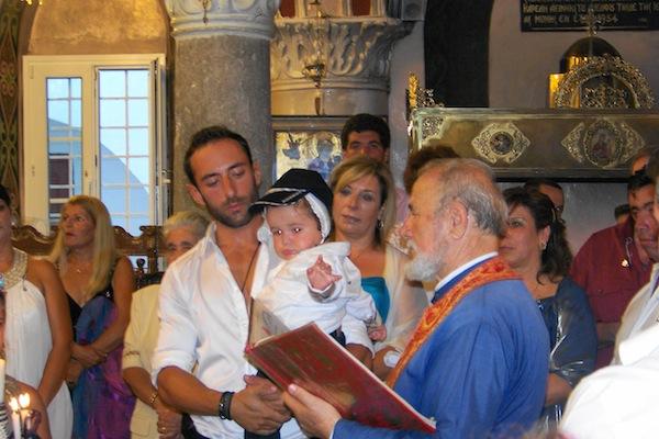 Cycladic island baptism, c. 2009.