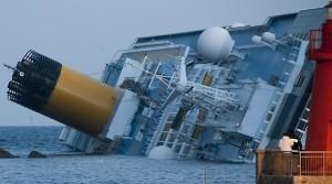 The Costa Concordia, going down.