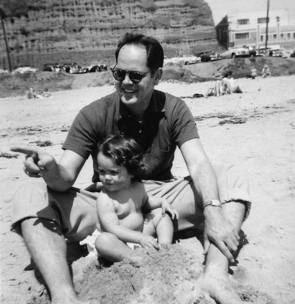 My father and I on the beach in California, early 1950s.