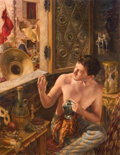 "Jose Parra, ""Self Portrait Sewing a Harlequin Hat."""