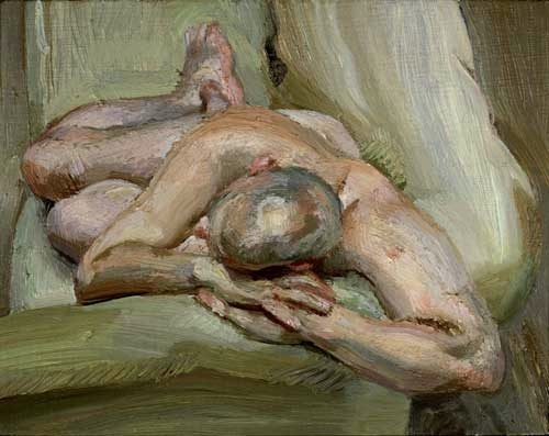 """Leigh on a Green Sofa,"" by Lucian Freud."