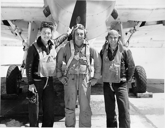 Colorblind Pilot Willie Balk (center) with Radioman Jim Edinger and Gunner Ed Pagnotta.
