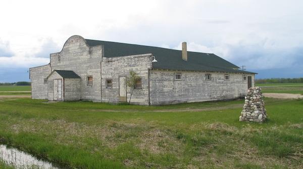 United Farmers community hall and cairn, Gimli, Manitoba, 2011.
