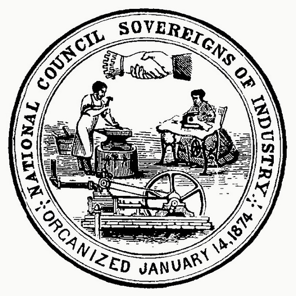 Cooperation's clasped hands: Sovereigns of Industry seal.