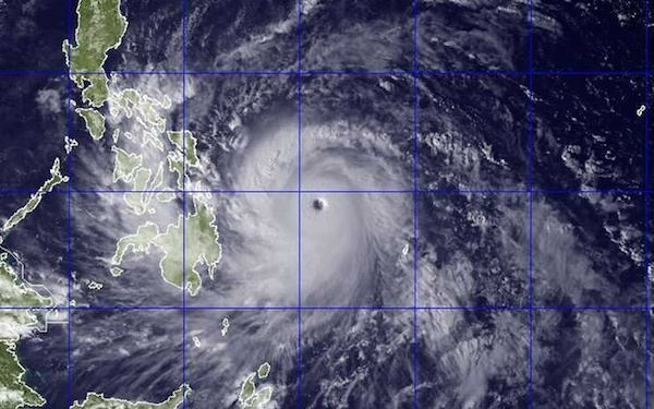 Typhoon over the Philippines.