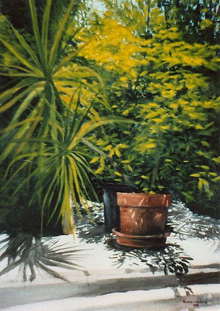 """""""Hemingway's Garden,"""" Watercolor, 29.5"""" X 21.5"""" (1992)."""