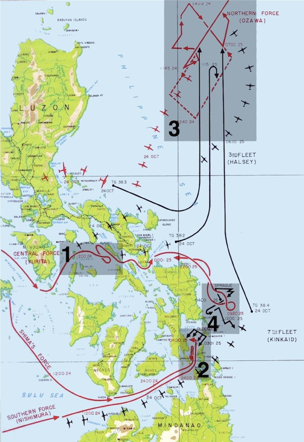 The four main actions in the battle of Leyte Gulf: 1 Battle of the Sibuyan Sea 2 Battle of Surigao Strait 3 Battle of (or 'off') Cape Engaño 4 Battle off Samar. Leyte Gulf is north of 2 and west of 4. The island of Leyte is west of the gulf.