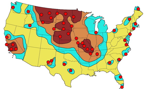 Nuclear strike map showing radiation zones, 1984.