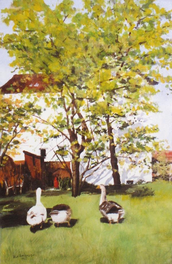 "Neighbor's Geese, Watercolor, 22"" x 15"" (1995)"
