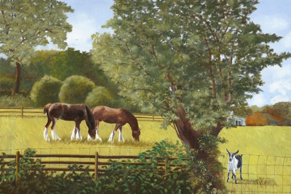 """""""Young Clydesdales and Friend,"""" Oil on Linen, 24"""" x 36"""" (2015)."""