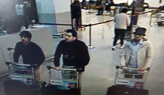 Capturing the uncapturable: CCTV camera footage of three suspects in the Brussels bombings.