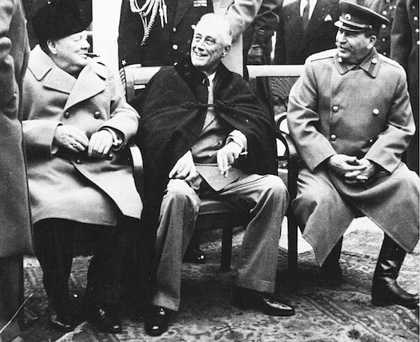 Churchill, Roosevelt, and Stalin, Tehran, 1943.