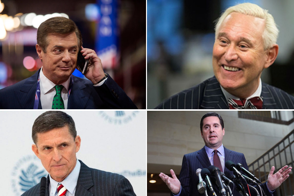 All the president's pinstripes: (From L, clockwise) Paul Manaforte, Roger Stone, Rep. Devin Nunes, and Mike Flynn