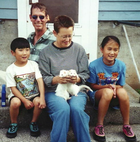 Kids with Stella and Blanche, Montana, 2001.