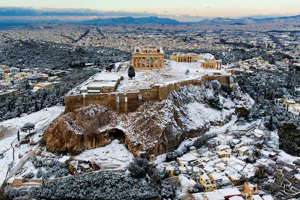 The Parthenon, under snow.