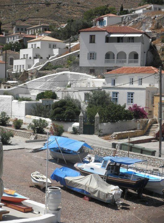 Hydra, Greece. Leigh Fermor lived in the famous Ghika Mansion, a short walk uphill from Kamini harbor.