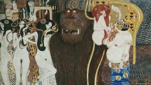 "Gustav Klimt's ""The Beethoven Frieze: Gorgons, The Giant Typhoeus, and Hostile Forces."""