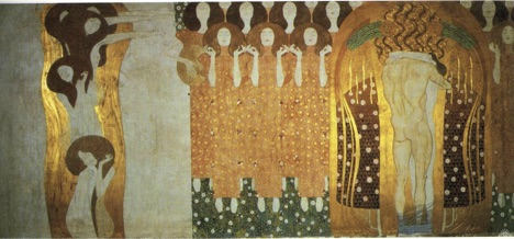 """Gustav Klimt's """"The Beethoven Frieze: The Longing for Happiness Finds Repose in Poetry"""" (Right Wall): Note the chorus at center, and the lovers whose legs are bound."""