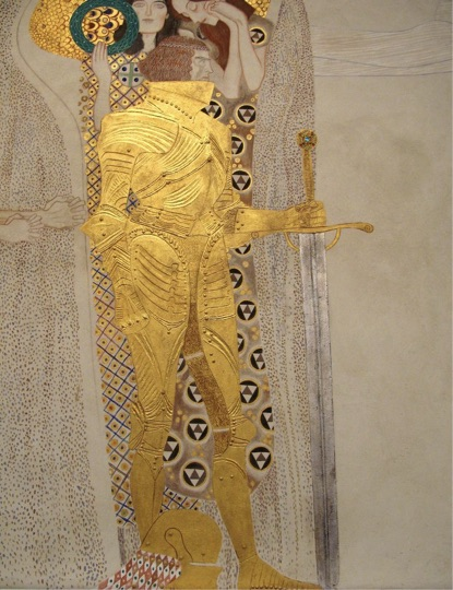 Gustav Klimt's The Knight of the Beethoven Frieze, purported to be a portrait of Gustav Mahler.