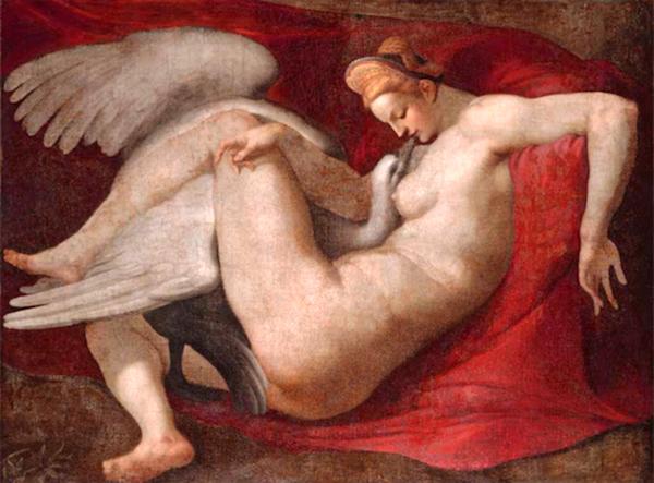 """""""Leda and the Swan,"""" by Michelangelo, Bibliothèque nationale de France, Paris, France."""