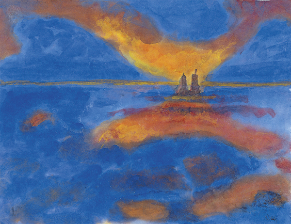 """Red Clouds,"" by Emil Nolde, watercolor on hand-made paper, Museo Nacional Thyssen-Bornemisza, Madrid."