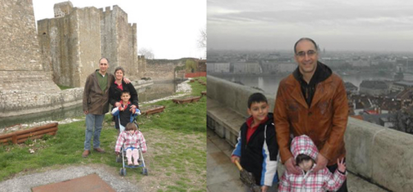 Leather jackets old, and new: (L) At Smederevo Fortress, Serbia, 2011; ® at Buda Castle, Budapest, 2012.