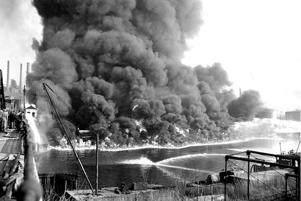 The Cuyahoga River, once one of the most polluted rivers in the United States, caught fire a total of 13 times, dating back to 1868. (Photo: Cleveland State University Library.)