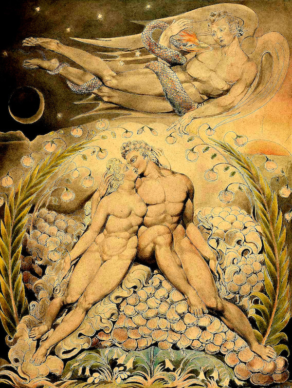 """Satã observando o amor de Adão e Eva,"" by William Blake (1757–1827)."
