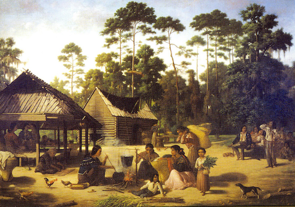Choctaw women harvesting, processing, and cooking maize, by Francois Bernard. (Wikimedia Commons).
