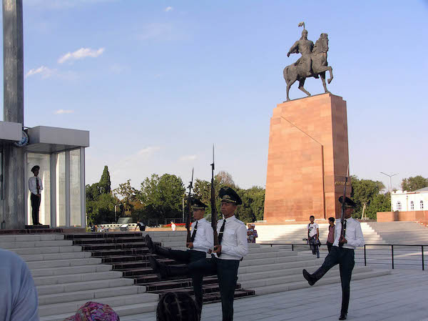 Changing of the guard in Ala-Too Square, Bishkek.