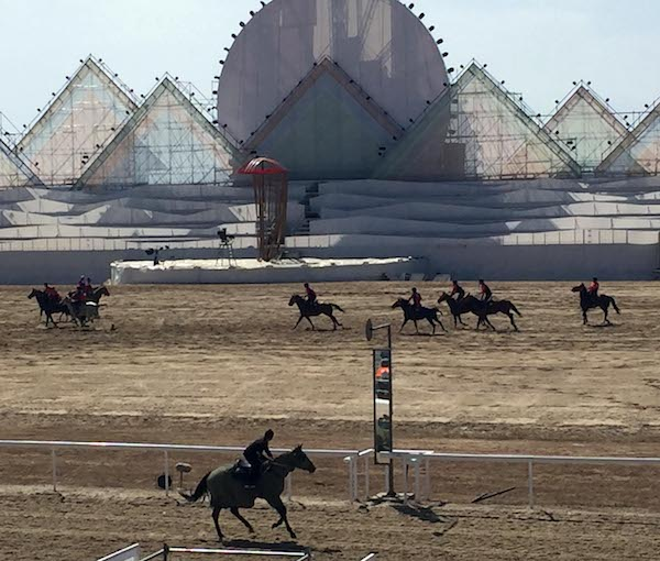 Teams competing in kok boru, Central Asian polo, Cholpol Ata.