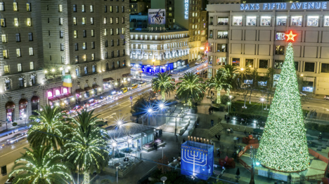 Holiday decorations, Union Square, San Francisco.