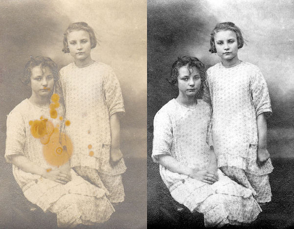 Photo of Anna and Germaine Sierens, ca. 1924, before and after restoration.