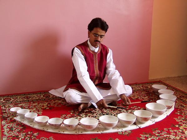 "The Jal-tarang, or ""liquid xylophone."""