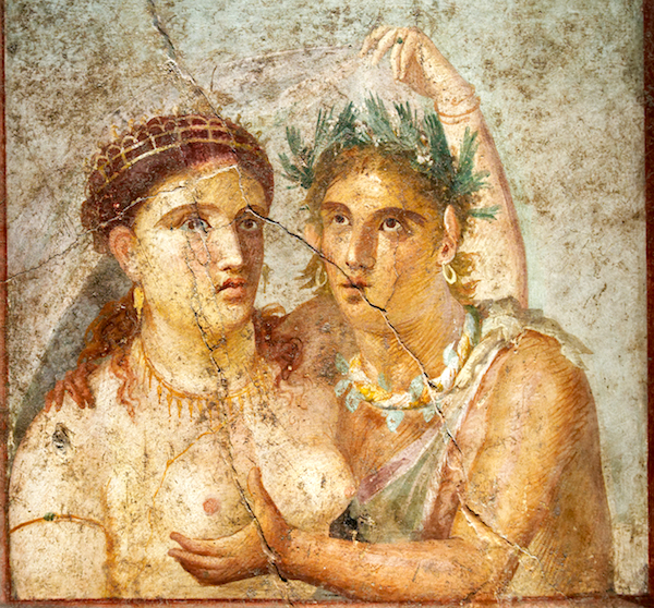 Fresco of a satyr and a maenad, from the House of Caecilius Jucundus in Pompeii.