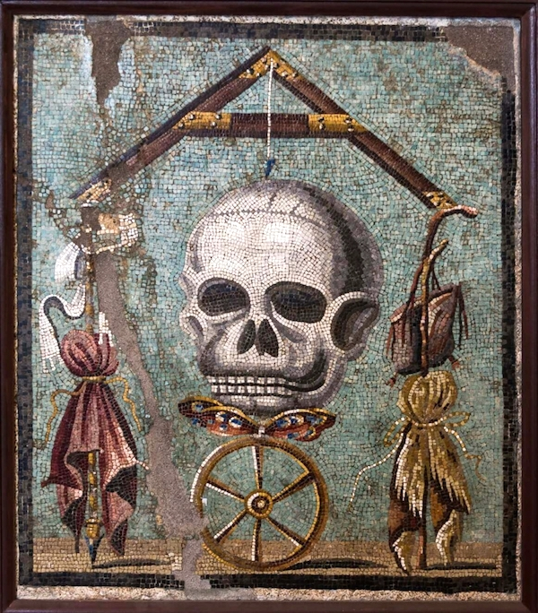 """Memento Mori,"" mosaic from Pompeii (1585), unknown artist."