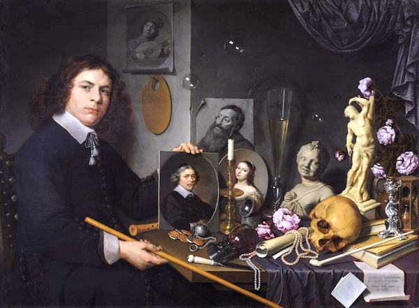 """Self-Portrait with Vanitas Symbols,"" by David Bailly (1651) ."