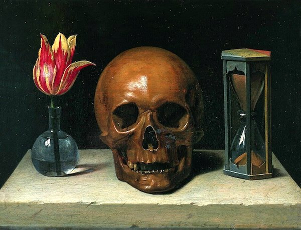 """""""Still-Life with a Skull,"""" by Philippe deChampagne (1671)."""