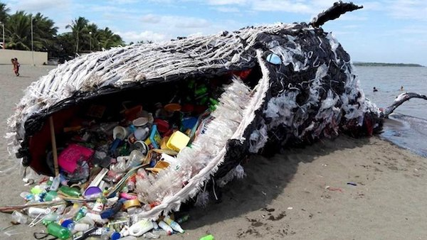 Whale installation made from trash found in the ocean. (Image: Greenpeace Media.
