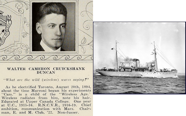 'Cam' Duncan, 1922 and HMCS Acadia, probably 1940s.