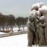 Gustav Vigeland's sculptures in Frogner Park, Oslo: winter.