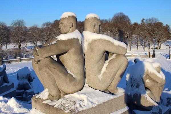 More of Gustav Vigeland's work, under snow, in Frogner Park.