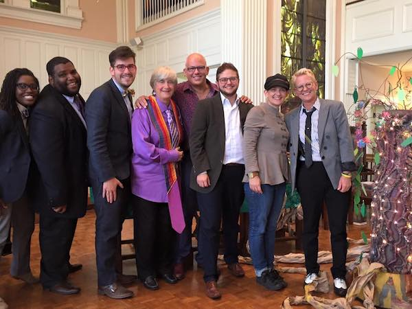 The Rev. Robin White (far right) with (from left) The Revs. Annanda Barclay, Phillip Morgan, Joey Lopez, Jane A. Spahr, Patrick Evans, Alex McNeill and Shawna Bowman, at Rev. McNeill's ordination in Asheville NC.