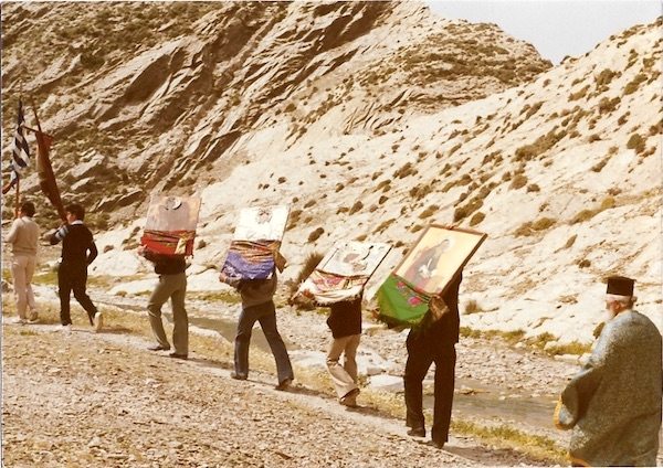 Village priest with local men carrying icons from the Church of the Panagia, Olympos, Karpathos, 1988.