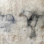 Clydesdale horses, charcoal on whitewash, m.20C, Inverharroch (©The Cabrach Trust, by permission)