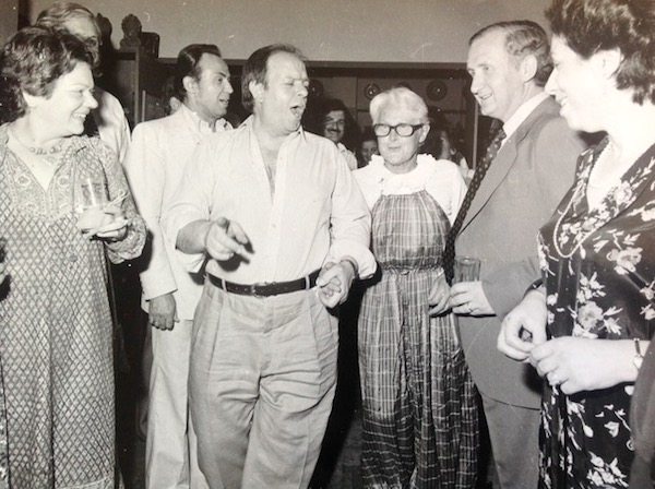 Jacky dancing with Panayis Psomopoulos at her 75th birthday party.