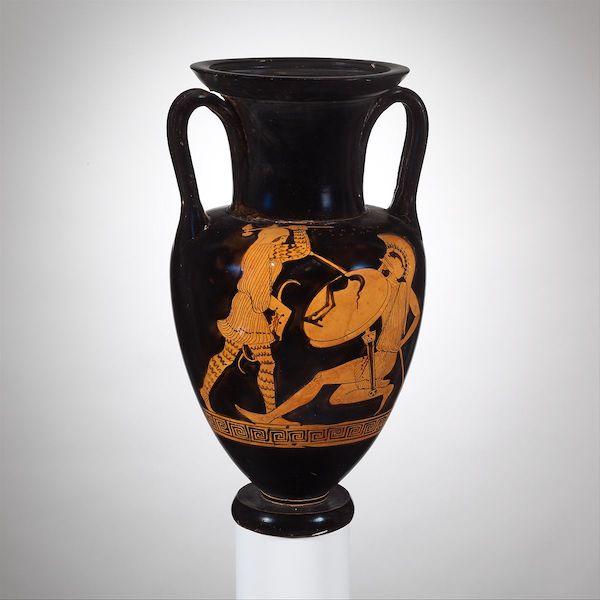 Amazon fighting a Greek warrior, vase c. 470 BC. (Image: Metropolitan Museum NY, public domain.)