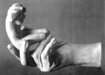"""""""Hand Holding Nude Female Torso,"""" After Auguste Rodin."""